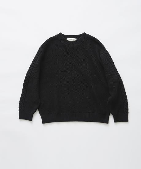 【 eLfinFolk 2019AW 】elf-191K13continuation moss stitch sweaer / black / 110, 130cm