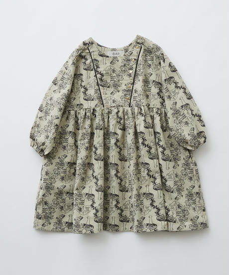 【 eLfinFolk 2019AW 】elf-192F04 ALfaFolk emblem print dress  / oatmeal / 90 - 100cm