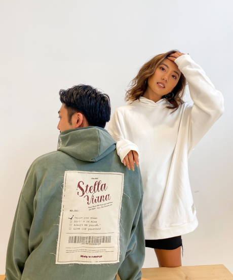 """【SET販売】【UNISEX】""""vintage poster motif""""ビッグフーディー×ロゴバケットハット"""