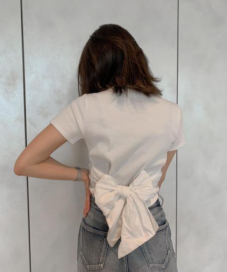 【即納】バックリボンリブTシャツ【残りわずか!!】