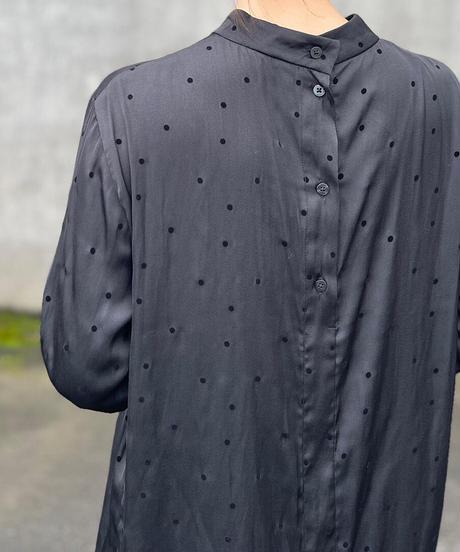 Johnbull(ジョンブル)ドットスタンドカラーシャツ 030.BLK