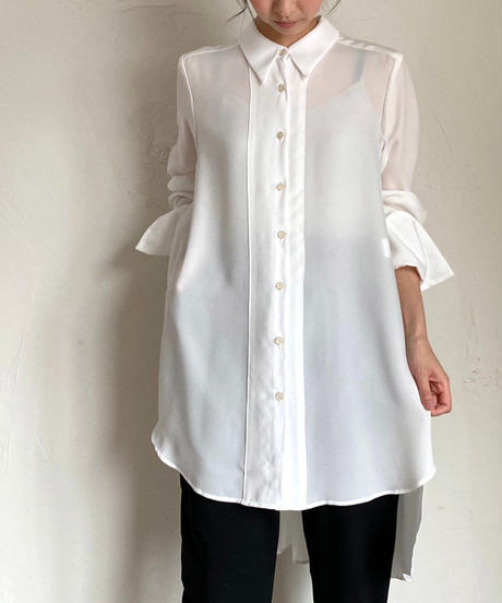 tous les deux ensemble(トゥレドゥアンサンブル)011702 ドレープシャツ 01.WHITE