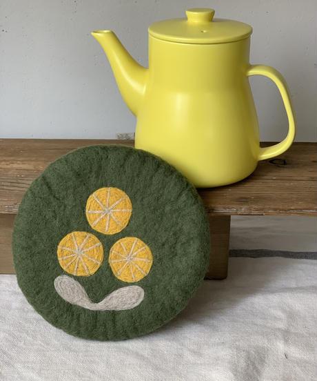 TEA POT&羊毛フェルトPOTマットセット〔ポット黄〕
