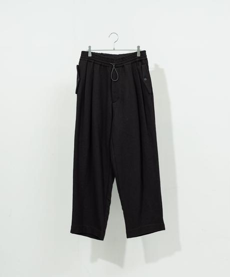VOAAOV - Vintage Wool Wide Tapered Pants [ BLACK ]