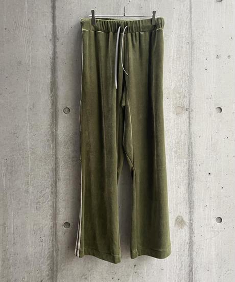 my beautiful landlet -  SOFT VELOUR TRACK PANTS [ OLIVE ]