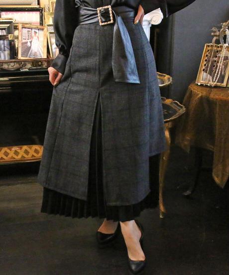【pour Mademoiselle】チェックプリーツレイヤードスカート ブラック