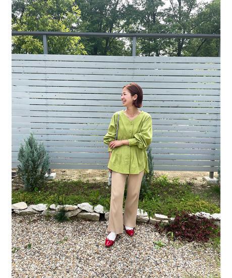 laceup tuck blouse(pistàcchio)