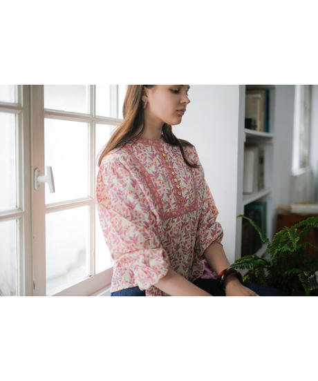 leaf blockprint blouse(yellow)