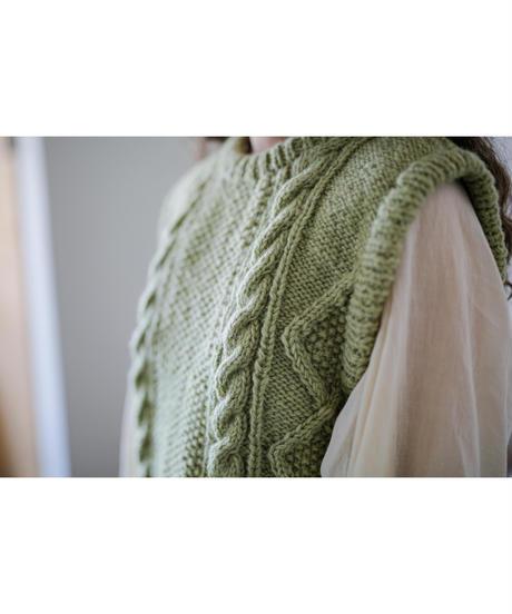 【10/30 20:00-release】cable handknit vest(pistàcchio)