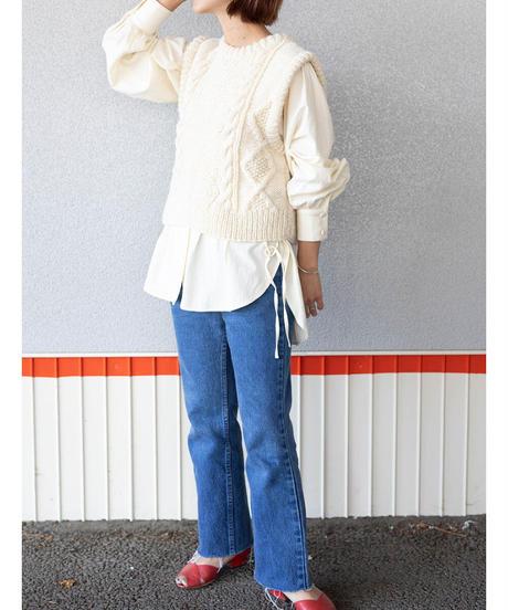 laceup tuck blouse(vanilla)