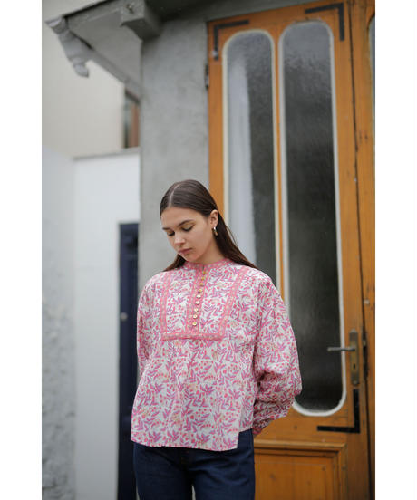 leaf blockprint blouse(white)