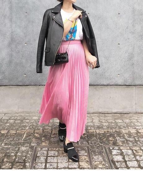 再販(original)マキシ丈プリーツスカート  (pink)