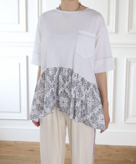 (original)ペイズリー柄ドッキングTシャツ(ホワイト)