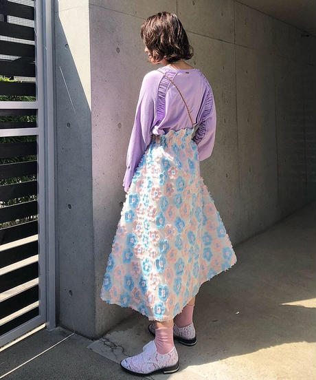 即納(original)flower skirt   サックスピンク