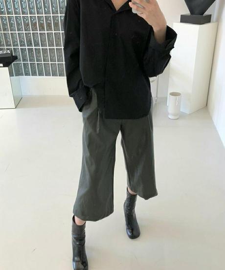 (select)エコレザータックキュロットパンツ 即納