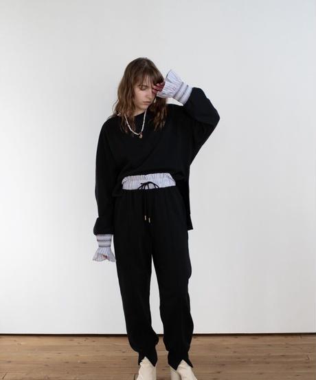 (original)スモック刺繡スウェットtops  (ストライプ)