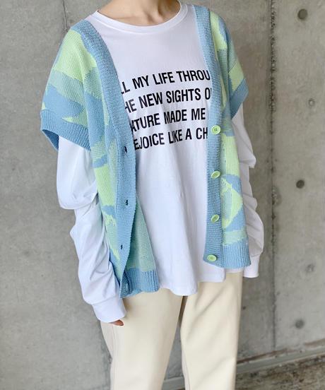(select)jacquard knit vest