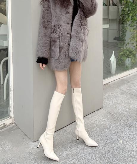 2カラー ラムレザーロングブーツ