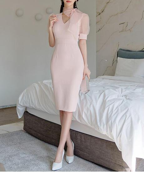 シアーリボンネックドレス