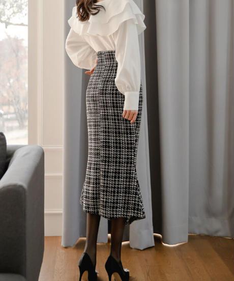 フィッシュテールツイードロングスカート
