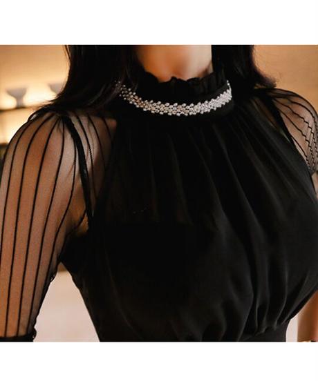 ビジューネックタイトミニドレス
