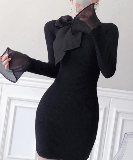 リボンニットドレス