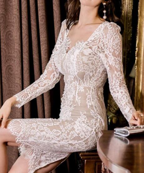 セクシーレースタイトドレス