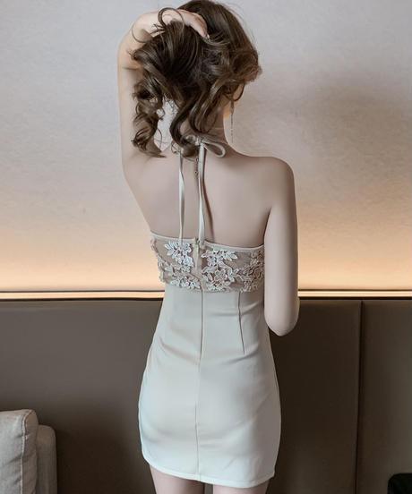 バストシアーフラワーレースミニドレス