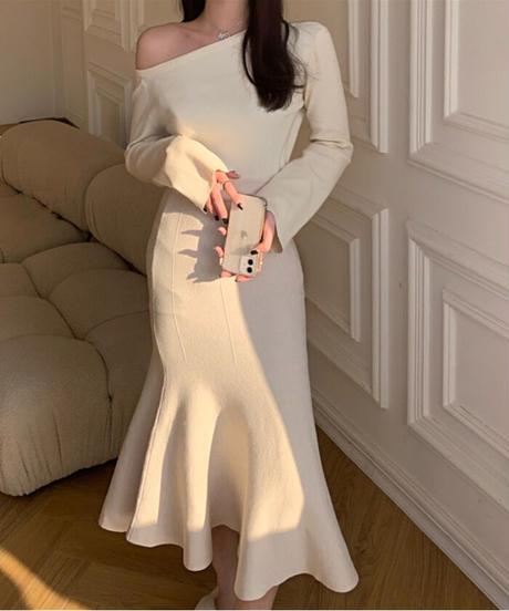 エレガントニットフィッシュテールスカート