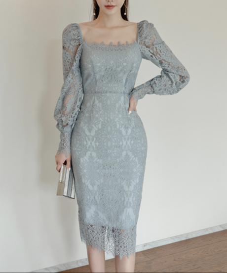 フラワーレースエレガントドレス