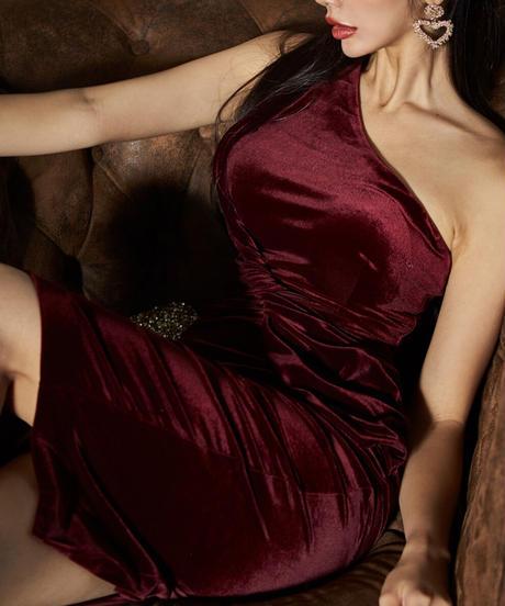 ワンショルダーベルベットドレス
