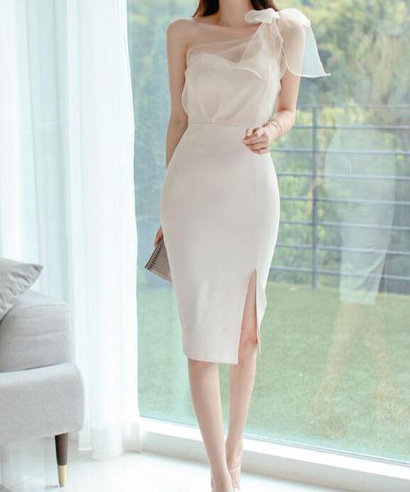 ショルダーレースエレガントドレス