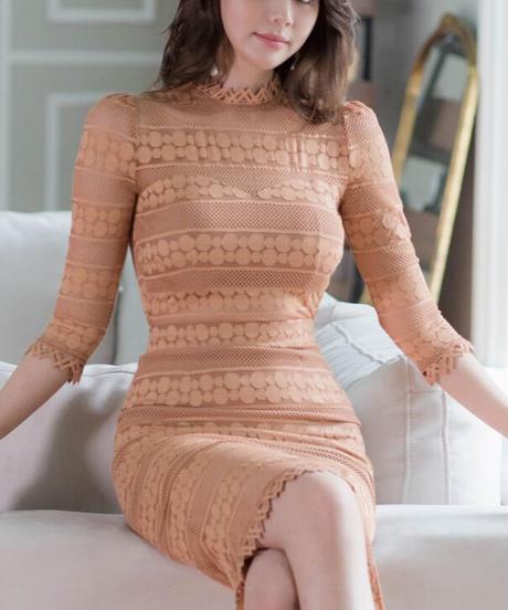ドット柄シースルーストライプドレス
