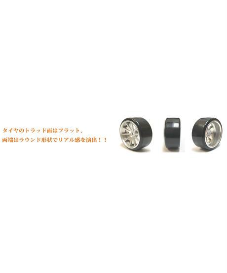 【HD-023MS】ホイルはめ込み済みドリフトタイヤ(NFホイル オフセット3 マットシルバー)
