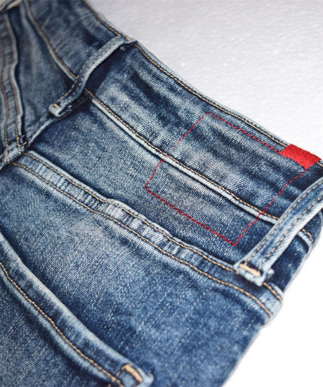 Women Slim-fit Tapered Hyper Stretch Denim Jeans Mid Blue 19F-225