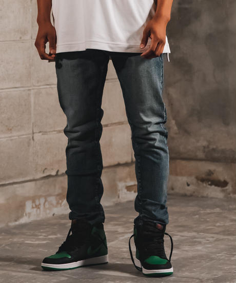 14.5oz Slim-fit Tapered Hyper Stretch Denim Jeans  Mid Blue 19S-201