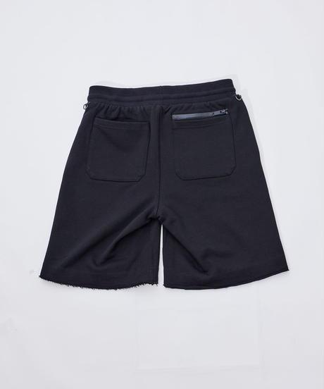 【超撥水】Boxy Cut Off Sweat Short Pants Black 19S-218