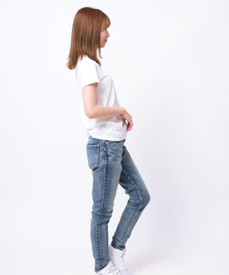 Women Slim-fit Tapered Hyper Stretch Denim Jeans Mid Blue 19F-225
