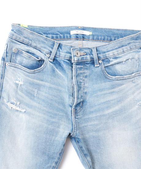 【超脚長】14.5oz Skinny Hyper Stretch Denim Jeans Light Blue 19F-222