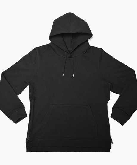 Pullover Side Zip Hooded Sweatshirt BLK 19S-103