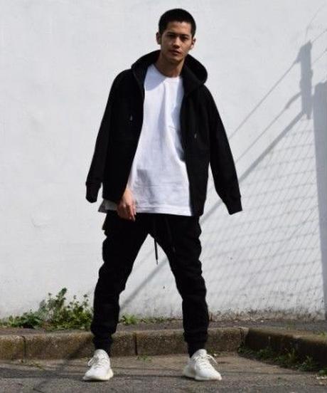 Raglan Zip Hooded Sweatshirt BLK 19S-104