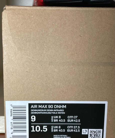 【送料込/最安値】新品 NIKE AIR MAX 90 DENHAM DENIM/INFRARED