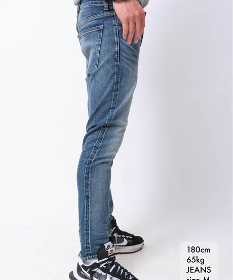 【超撥水・脚長】14.5oz Slim-fit Tapered Hyper Stretch Denim Jeans  Mid Blue 19S-201