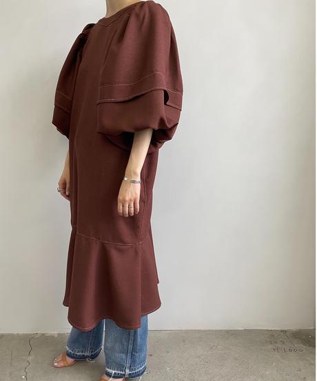 【&her】Ballon Stitch Dress/BORDEAUXBROWN