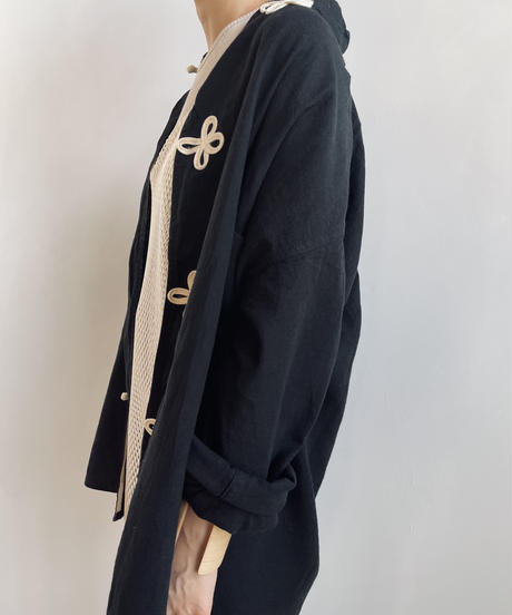 【&her】Crossover China Shirt/BLACK