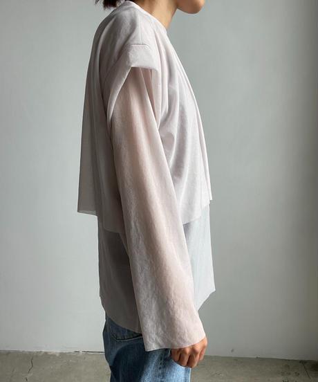 【&her】Sheer Layered Tops/WHITE