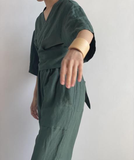 【&her】Rayon Linen Tops/DARKGREEN