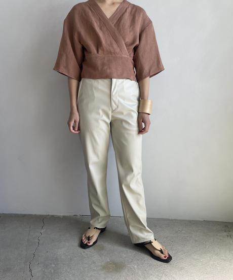 【&her】Rayon Linen Tops/SMOKYBROWN