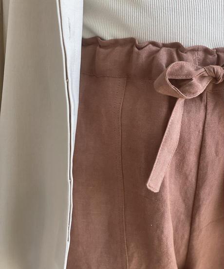 【&her】Rayon Linen Pants/SMOKYBROWN