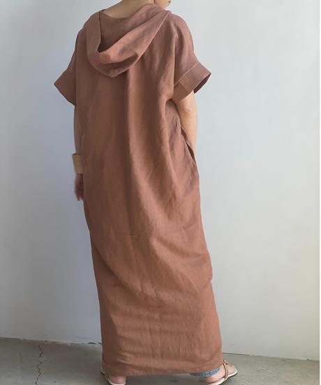 【&her】Rayon Linen Hoodie Dress/SMOKYBROWN